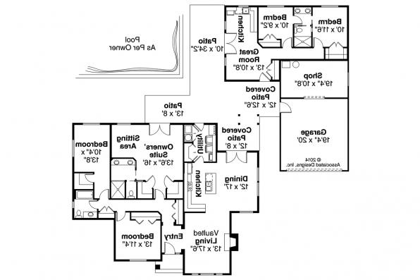 Ranch house plans darrington 30 941 associated designs Home plans with detached guest house