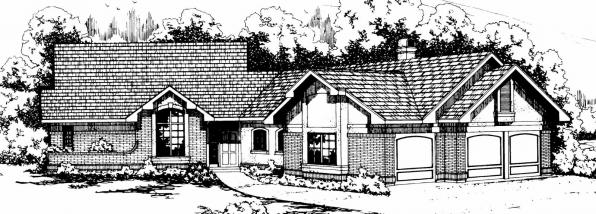 Beaumont - 10-052 - Ranch Home Plans - Front Elevation