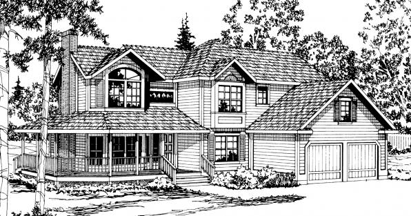 Melville - 10-096 - Country Home Plans - Front Elevation