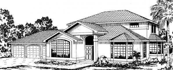 Amherst - 11-030 - Mediterranean Home Plans - Front Elevation