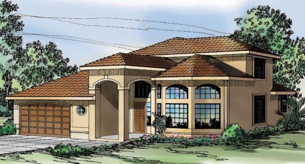 Warrington - 11-036 - Southwestern Home Plan - Front Elevation