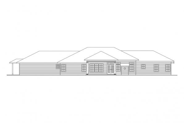 1 Story House Plan - Parkdale 30-684 - Rear Elevation