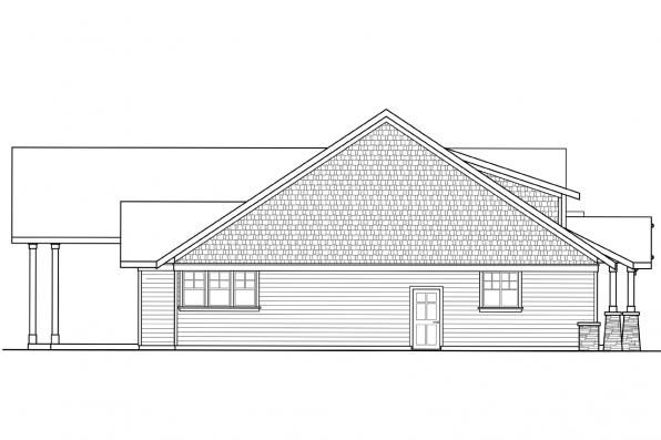 1 Story House Plan - Westheart 10-630 - Right Elevation
