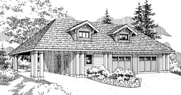 Garage w/Carport - 20-033 - Garage Plans - Front Elevation