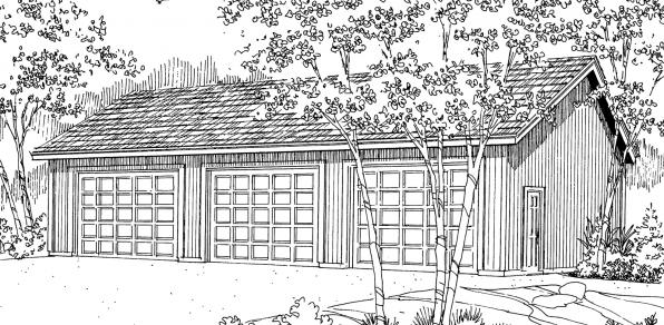 3 car Garage - 20-051 - Garage Plans - Front Elevation