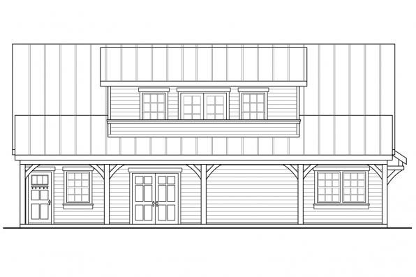 2 Story Garage Plan 20-157 - Right Elevation