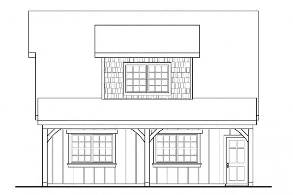 2 Car Garage Plan 20-087 - Left Elevation