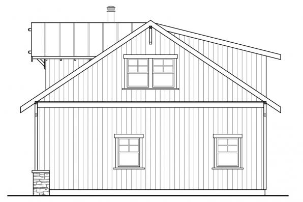 2 Car Garage Plan 20-189 - Left Elevation