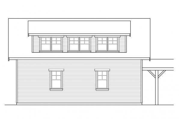 2 Car Garage Plan 20-221 - Left Elevation