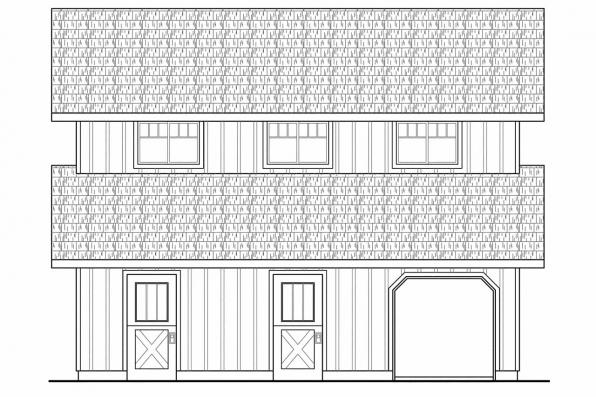 2 Story Barn Plan 20-059 - Right Elevation