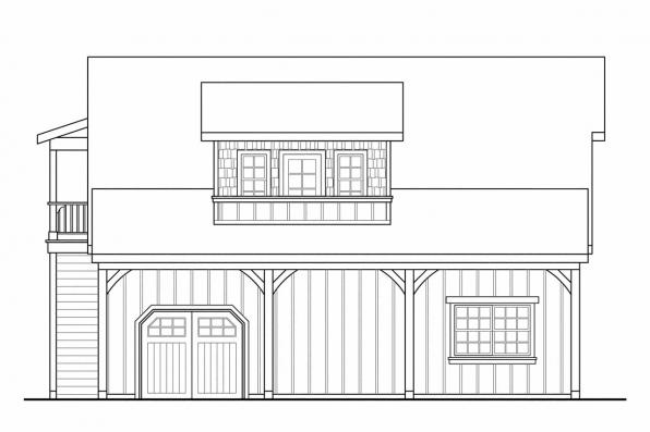 2 Story Garage Plan 20-077 - Right Elevation