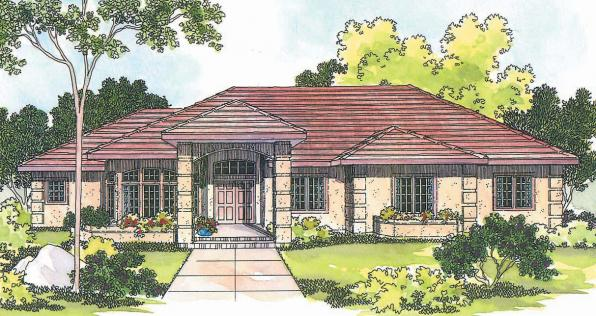 Lantana - 30-177 - Southwestern Home Plan - Front Elevation