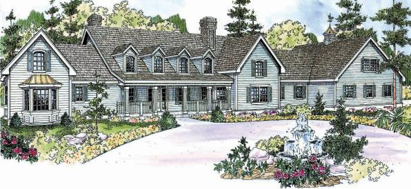 Brookfield - 30-646 - Country Home Plan - Front Elevation