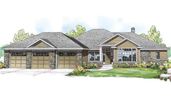 Meadow Lake - 30-767 - Ranch Home Plan - Front Elevation
