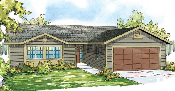 Copperfield - 30-801 - Ranch Home Plan - Front Elevation