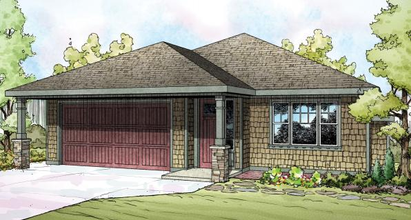 Pine Creek - 30-885 - Shingle-Style Home Plan - Front Elevation