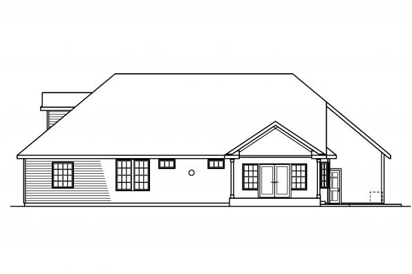 3 Bedroom House Plans - Remmington 30-460 - Rear Elevation