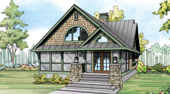Glen Eden - 50-017 - Craftsman Home Plan - Front Elevation