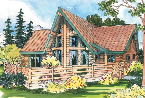 A Frame House Plan - Altamont 30-012 - Front Elevation