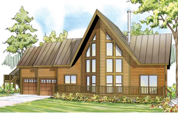 A Frame House Plan - Boulder Creek 30-814 - Front Elevation