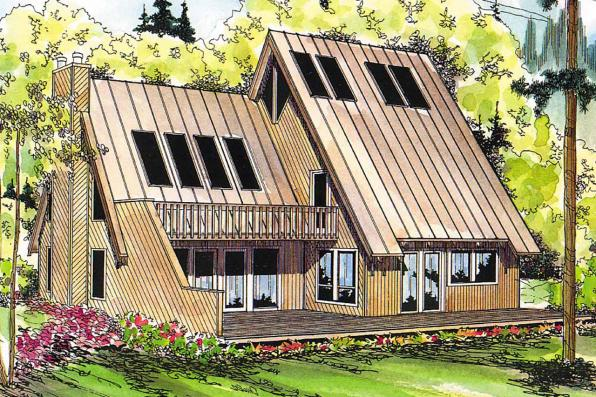 A-Frame House Plan - Cascade 10-034 - Front Elevation