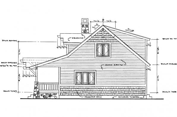 Bungalow House Plan - Absecon 41-011 - Left Elevation