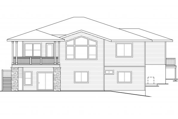 Sloping Lot House Plan - Hood River 30-947 - Rear Elevation