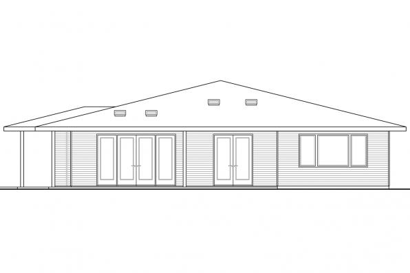 Bungalow House Plan - Juniper 30-946 - Rear Elevation