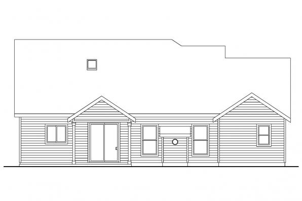 Cape Cod House Plan - Brookside - 30-613 - Rear Elevation