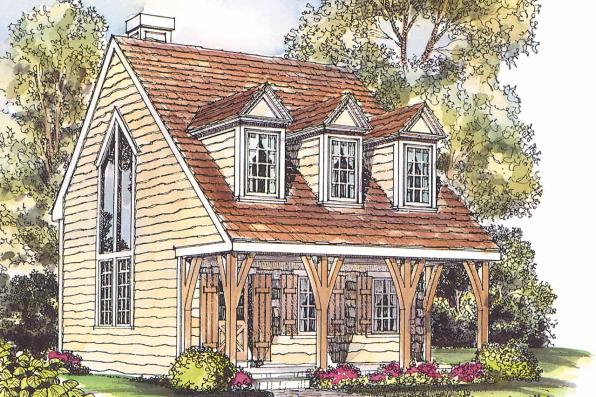 Cape Cod House Plan - Langford 42-014 - Front Elevation