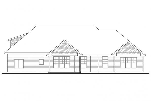 Cape Cod House Plan - Willamette 30-788 - Rear Elevation