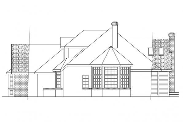 Classic House Plan - Blueridge 10-205 - Left Elevation