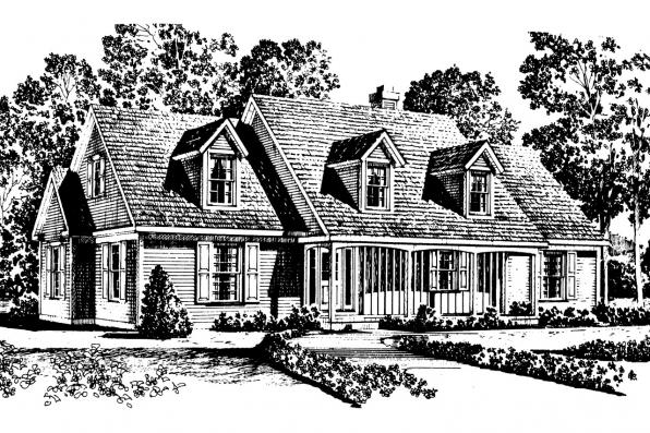 Colonial House Plan - Namskaket 42-002 - Front Elevation