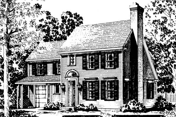 Colonial House Plan - Perrysburg 42-001 - Front Elevation