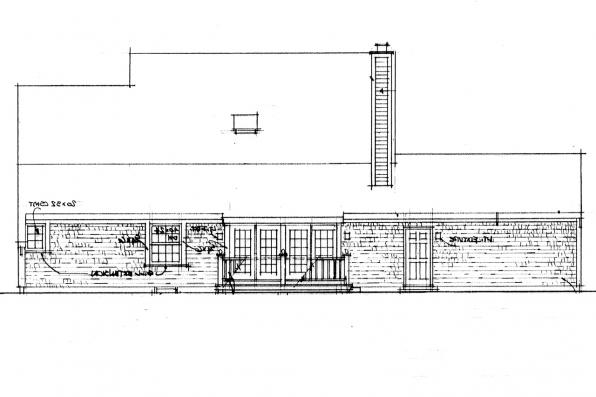 Colonial House Plan - Trowbridge 42-005 - Rear Elevation