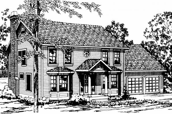 Colonial House Plan - Westport 10-155 - Front Elevation
