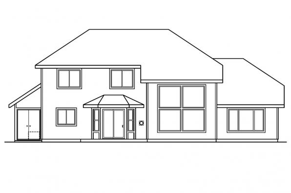 Contemporary House Plan - Chivington 30-260 - Rear Elevation