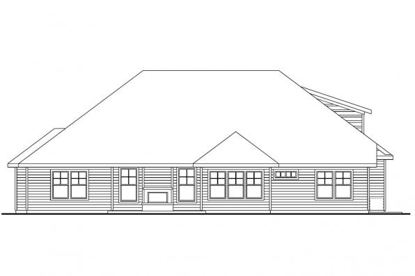 Contemporary House Plan - Saddlebrook 30-616 - Rear Elevation