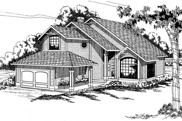 Contemporary House Plan - Tiffany 50-002 - Front Elevation