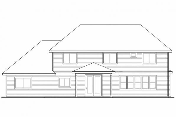 Cottage House Plan - Oakridge 30-761 - Rear Elevation