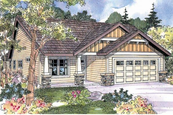 Cottage House Plan - Redrock 30-636 - Front Elevation