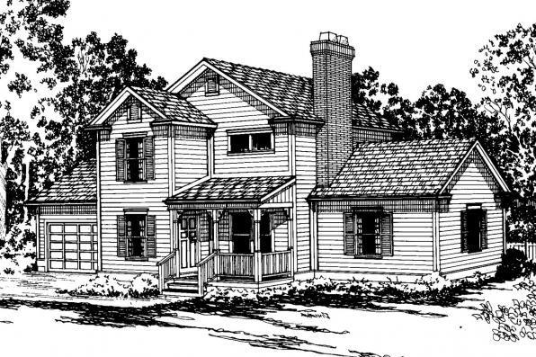 Country House Plan - Abbot 10-075 - Front Elevation