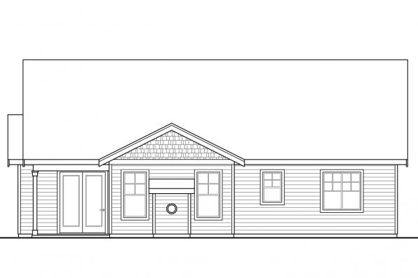 Country House Plan - Brookstone 31-066 - Rear Elevation