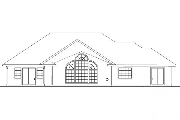 Country House Plan - Carson 30-670 - Rear Elevation