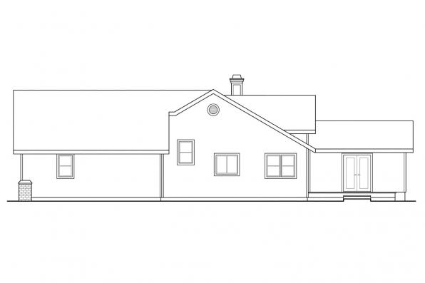 Country House Plan - Chesapeake 50-007 - Left Elevation