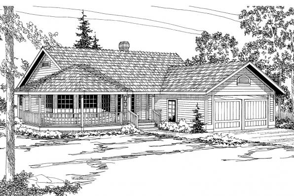 Country House Plan - Crescent 10-106 - Front Elevation