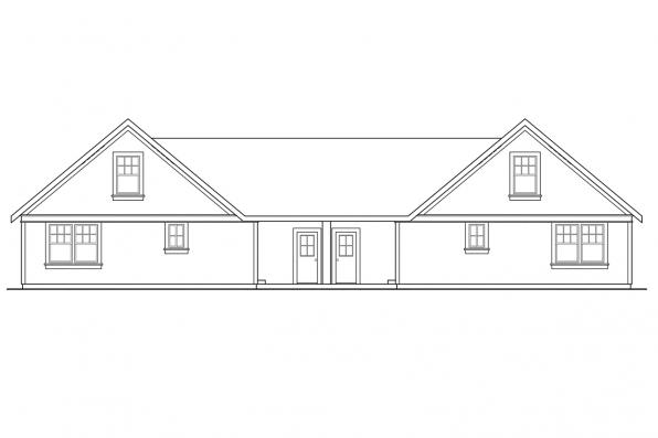 Country House Plan - Donovan 60-007 - Rear Elevation