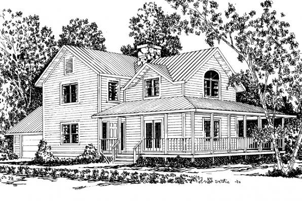 Country House Plan - Eldora 41-005 - Front Elevation