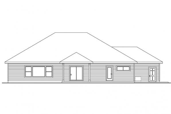Country House Plan - Fieldstone 30-607 - Rear Elevation