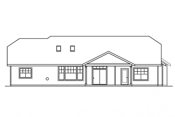 Country House Plan - Grayson 30-305 - Rear Elevation